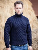 Mens Wool Turtleneck Sweater - Navy