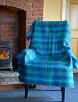 Mohair Plaid Knee Throw - Turquoise