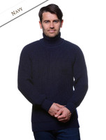 Fisherman's Ribbed Wool Turtleneck Sweater - Navy