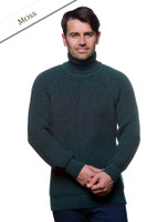 Fisherman's Ribbed Wool Turtleneck Sweater - Moss Green