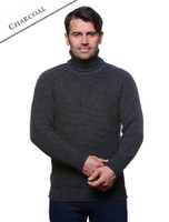Fisherman's Ribbed Wool Turtleneck Sweater - Charcoal