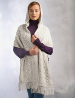 Hooded Scarf Shawl - Natural White