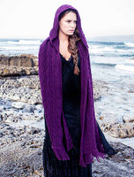 Hooded Scarf Shawl - Purple
