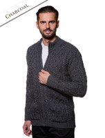 Diamond and Cable Knit Zip Cardigan with Pockets - Charcoal