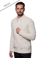 Diamond and Cable Knit Zip Cardigan with Pockets - Natural White