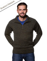 Donegal Tweed Half Zip Sweater - Forest Green