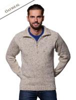 Donegal Tweed Half Zip Sweater - Oatmeal
