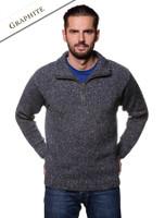 Donegal Tweed Half Zip Sweater - Graphite