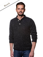 Men's Donegal Tweed 2 Button Sweater - Black