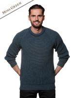 Irish Fisherman Ribbed Sweater - Moss Green