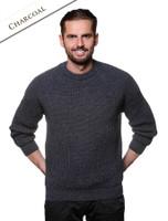 Irish Fisherman Ribbed Sweater - Charcoal