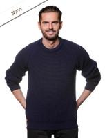 Irish Fisherman Ribbed Sweater - Navy