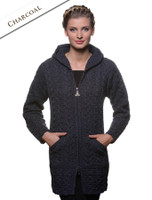 Hooded Coatigan with Celtic Knot Zipper Pull - Charcoal