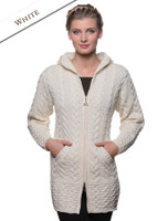 Hooded Coatigan with Celtic Knot Zipper Pull - Natural White