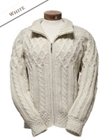 Aran Zipper Cardigan - Natural White