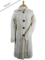 Women's Irish Long Cable Coatigan - Natural White