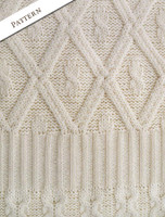 Pattern Detail of Women's Irish Long Cable Coatigan - Natural White