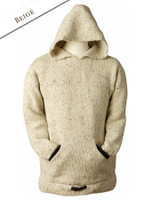 Wool Hoodie with Pouch Pocket - Beige