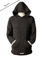 Wool Hoodie with Pouch Pocket - Black