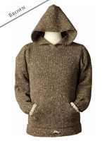 Wool Hoodie with Pouch Pocket - Brown