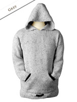 Wool Hoodie with Pouch Pocket - Grey