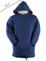 Wool Hoodie with Pouch Pocket - Blue