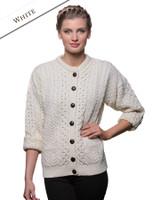 Merino Wool Aran Lumber Jacket - White