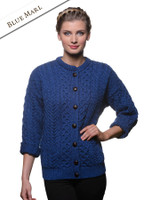 Merino Wool Aran Lumber Jacket - Blue Marl