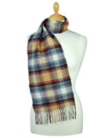 Narrow Lambswool Plaid Scarf - Beige Rust Cream