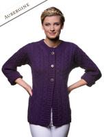 Women's Merino Wool A-Line Fit Cardigan - Aubergine