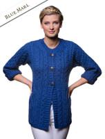 Women's Merino Wool A-Line Fit Cardigan - Blue Marl