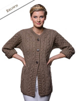 Women's Merino Wool A-Line Fit Cardigan - Browm