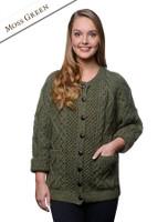 Premium Handknit Merino Lumber Jacket - Moss