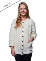 Premium Handknit Merino Lumber Jacket - White