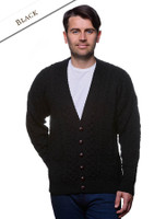Merino Wool Aran Men's V-Neck Cardigan - Black