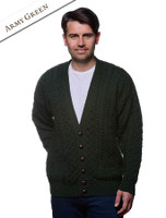 Merino Wool Aran Men's V-Neck Cardigan - Army Green