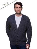 Merino Wool Aran Men's V-Neck Cardigan - Derby