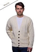 Merino Wool Aran Men's V-Neck Cardigan - Natural White