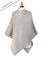 Women's Merino Wool Cable Poncho - Limestone