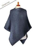 Women's Merino Wool Cable Poncho - Charcoal