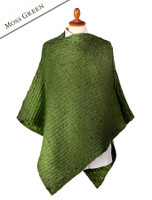 Women's Merino Wool Cable Poncho - Moss Green
