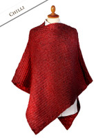 Women's Merino Wool Cable Poncho - Chilli