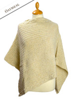 Women's Merino Wool Cable Poncho - Oatmeal