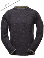 Wool Cashmere Crew Neck Sweater - Navy