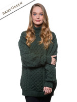 Women's Oversized Merino Turtleneck Sweater - Army Green