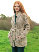 Shawl Collared Belted Cardigan - Wicker
