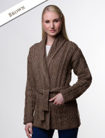 Button Hooded Coatigan - Brown