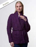 Button Hooded Coatigan - Purple