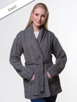 Button Hooded Coatigan - Grey