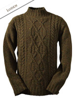 Wool Cashmere Aran Mock Turtleneck Sweater - Loden